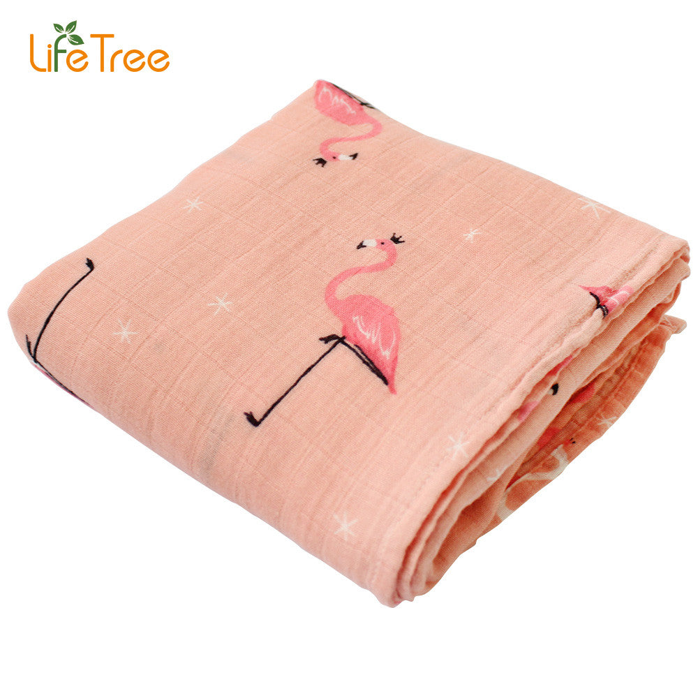 Baby Swaddle Blanket Muslin Bamboo Cotton Soft Wrap For Newborn Cartoon Printed Breathable Infant Bedding 120*120