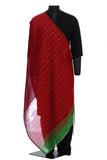 Kolkata cotton silk - Red with sequins and green border