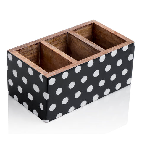 Wooden cutlery stand - Black with white polka dots