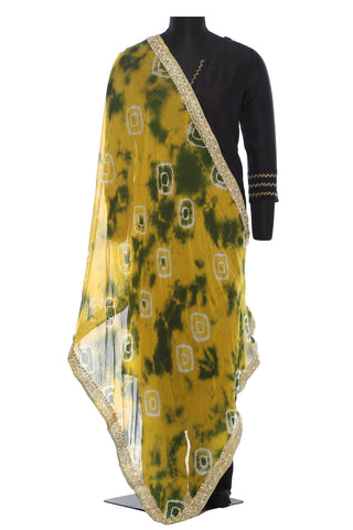 Yellow and green, chiffon, batik dupatta with a beautiful golden border