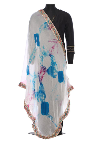 White, blue and pink, chiffon, batik dupatta with a beautiful stonework border