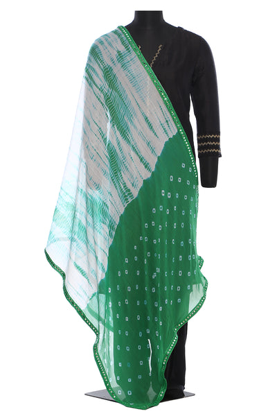 White and green, chiffon, tie and dye dupatta