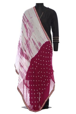 White and purple, chiffon, tie and dye dupatta