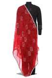 Red, chiffon, bandhini dupatta with a beautiful silver border