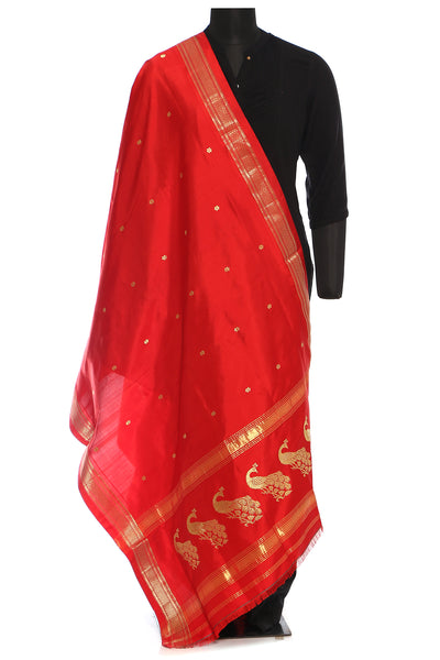 Paithani silk dupatta - Red