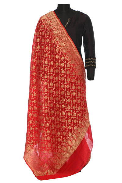 Pure khaddi georgette, bright red, benarasi dupatta