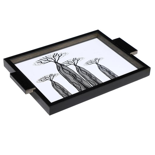 Serving tray - White with black abaca print