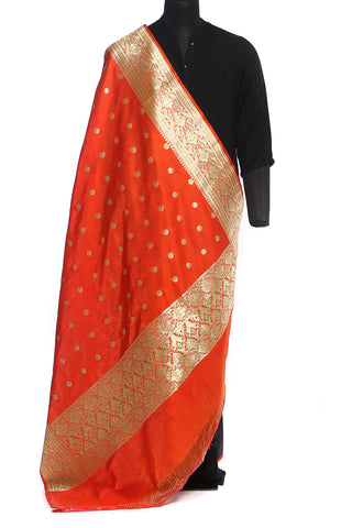 Bright orange benarasi art silk dupatta with small floral buttis