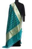 Green benarasi art silk dupatta with small floral buttis