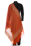 Himroo dupatta in orange with beige motifs
