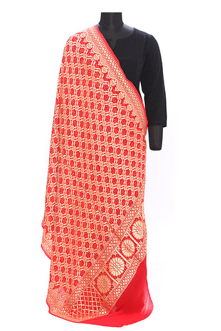 Pure georgette double bandhej benarasi dupatta - Red