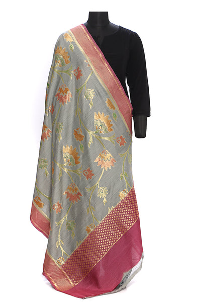 Pure muga silk dupatta - Grey with a pink and gold floral weave
