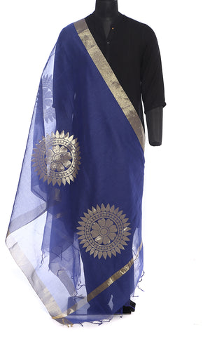 Royal blue mercerized cotton dupatta with large golden motifs