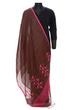 Pure linen jaamdani dupatta in brown and pink