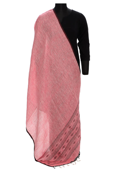 Pure linen jaamdani dupatta in pink and charcoal grey