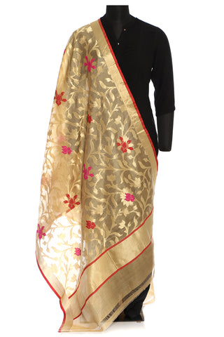 Benarasi katan silk dupatta in beige with red and golden floral weave