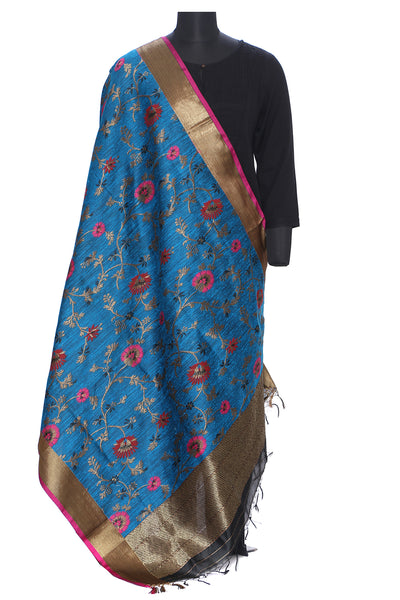 Pure dupion silk benarasi dupatta in blue and gold with pink and red motifs