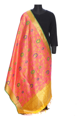 Pure dupion silk benarasi dupatta in bright pink and gold with blue and green motifs