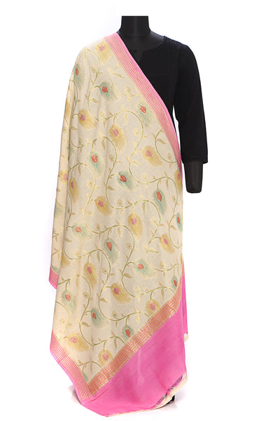 Pure muga silk dupatta - Cream with handbrush painted peacock feathers