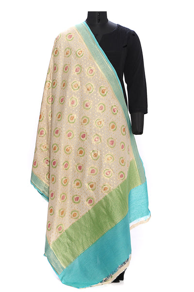 Pure muga silk dupatta - Cream with handbrush painted motifs