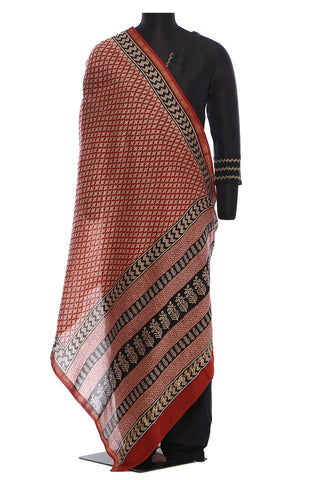 Chanderi cotton dupatta in maroon with beige and black block print