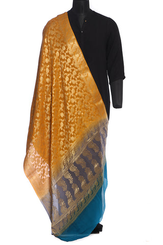 Benarasi chiffon dupatta in mustard, grey and blue