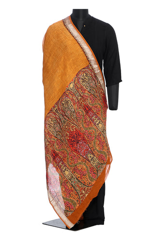 Linen dupatta in orange