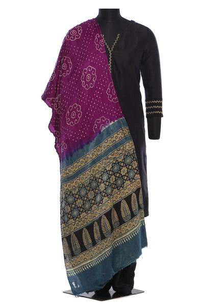 Pure silk bandhini with gajji silk ajrakh ends - purple
