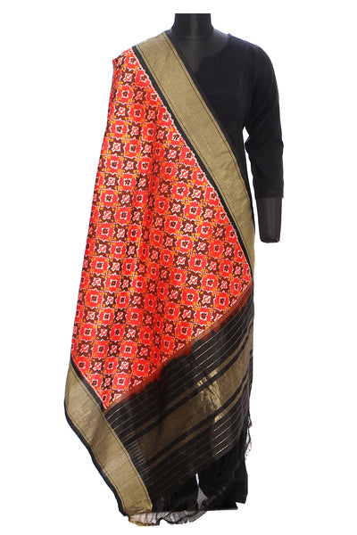 Ikkat silk patola dupatta - Red with black border