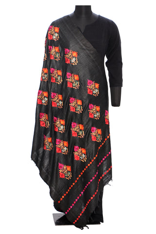 Black dupatta with aari work