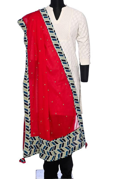 Cotton with mirror work and ajrakh border - red