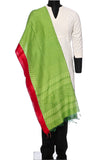 Chanderi cotton printed - green with red border
