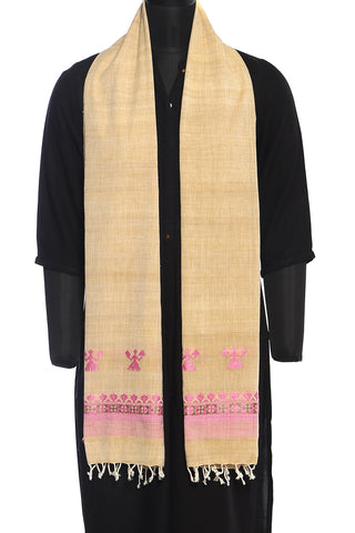 Beige and pink, hand embroidered, Eri cotton stole