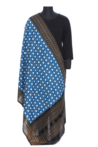 Pure cotton pasapalli ikat dupatta in blue and black