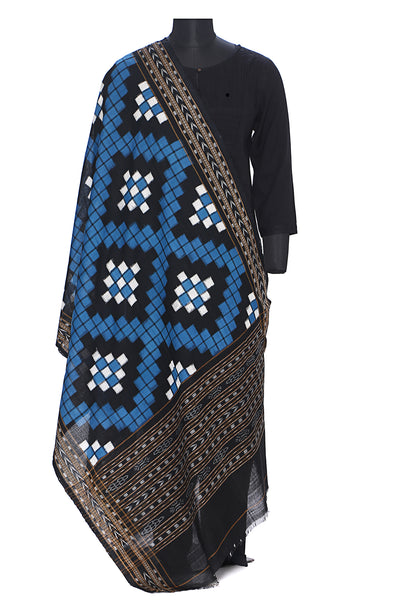 Pure cotton pasapalli double ikat dupatta in blue and black