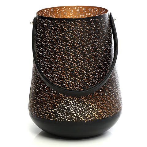 Black and golden lantern with a leather handle - medium