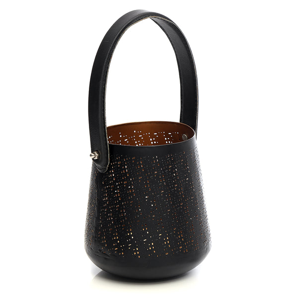 Black and golden lantern with a leather handle - small