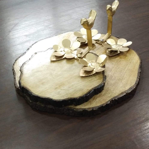 Birds on wood - Set of serving platters in wood and metal