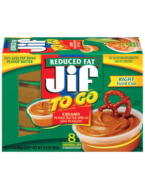 Jif To Go Creamy Reduced Fat Peanut Butter cups (8 count) (386g)