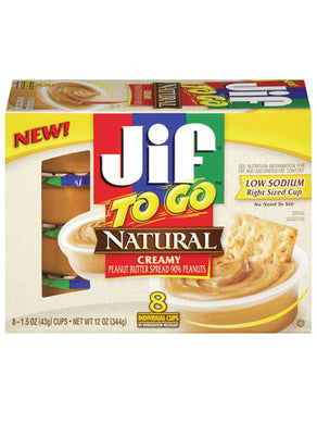 Jif To Go Natural Creamy Peanut Butter cups (8 count) (340g)