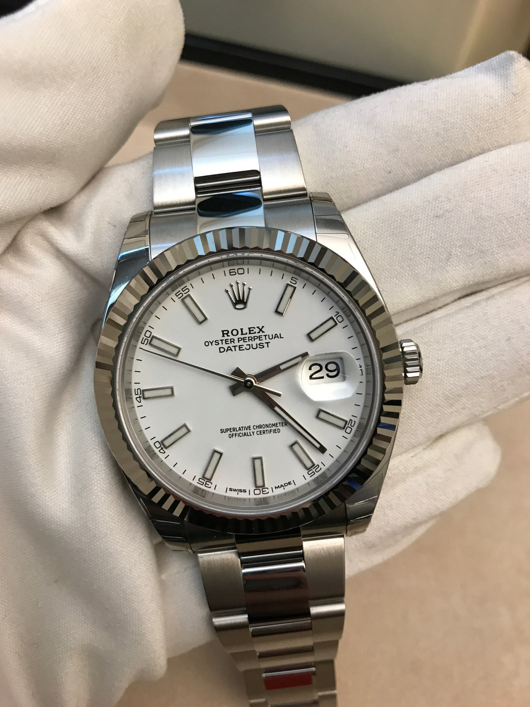 Rolex Datejust 41mm Stainless Steel 904L Fluted Bezel White Index Dial on Oyster band