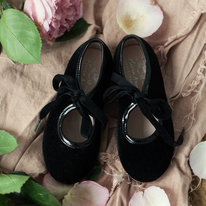 OLIVIA ANN Mary Jane - Black Velvet and Patent Details.
