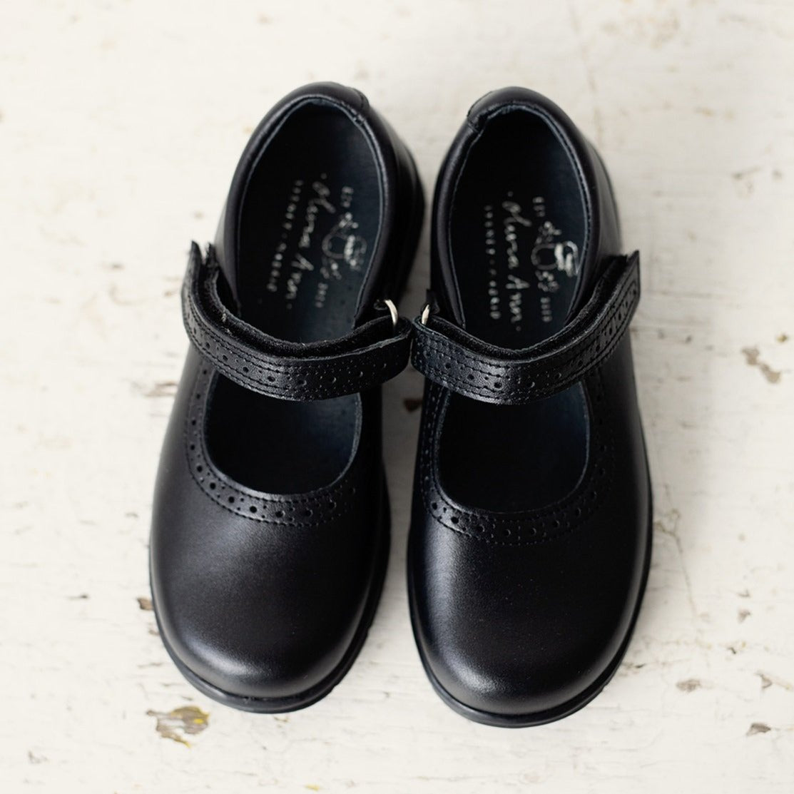 These classic light weight black leather Mary Jane shoes are perfect for school and any other formal occasion.  School shoes. Olivia Ann Shoes. Girl Shoes.