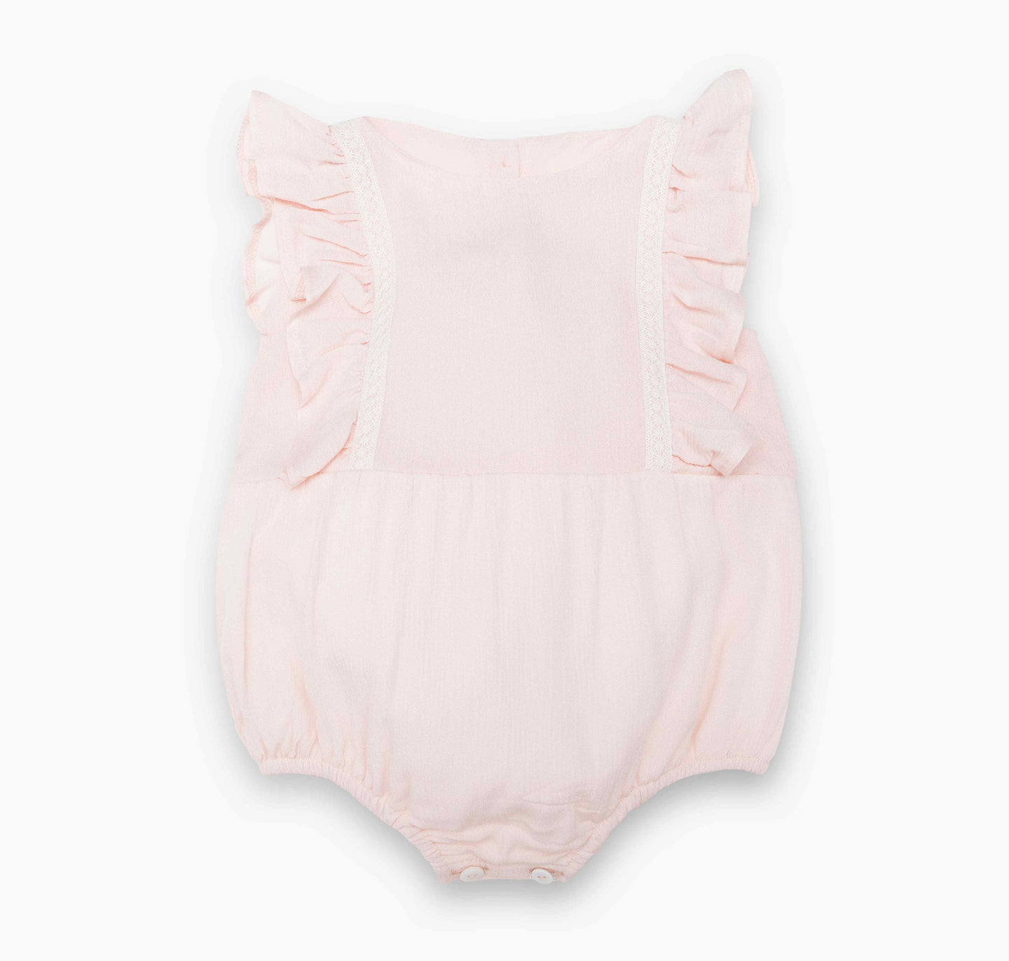 Adorable Baby Romper with a delicate blush pink gauze, cute ruffles and cotton lace details. Vintage inspired. Lined with cotton.