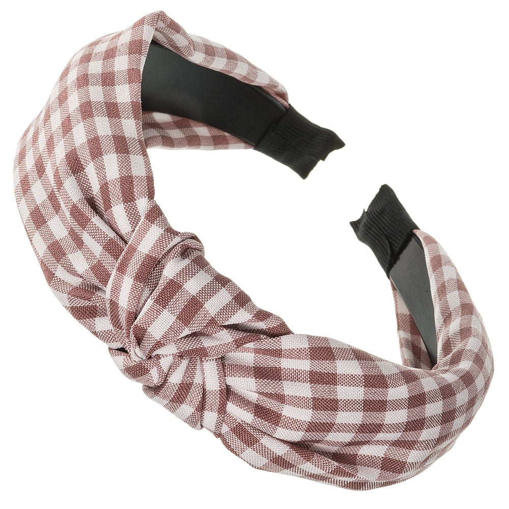 Fabric knotted headbands are the last fashion trend! Adorable gingham fabric, timeless. Wholesale. Olivia Ann Accessories. Made in Spain