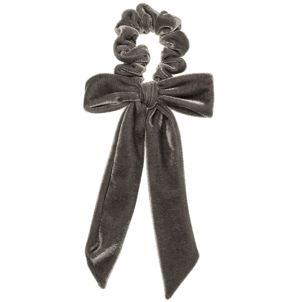 Deluxe Velvet Bow Scrunchie - Grey