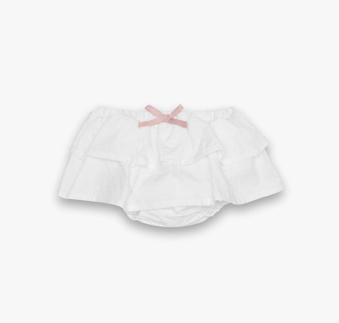 The sweetest  bloomers with double ruffle and a pink bow detail in a delicate Ecru colour fabric. Fully lined.