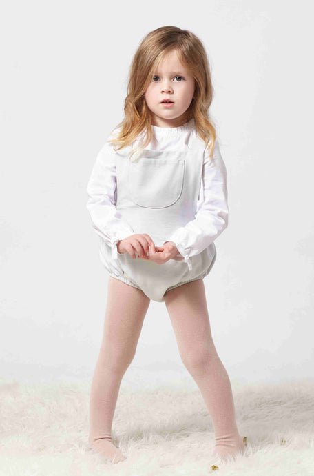 Adorable light grey romper for babies and little girls with pockets at front. Made with the softest cotton.