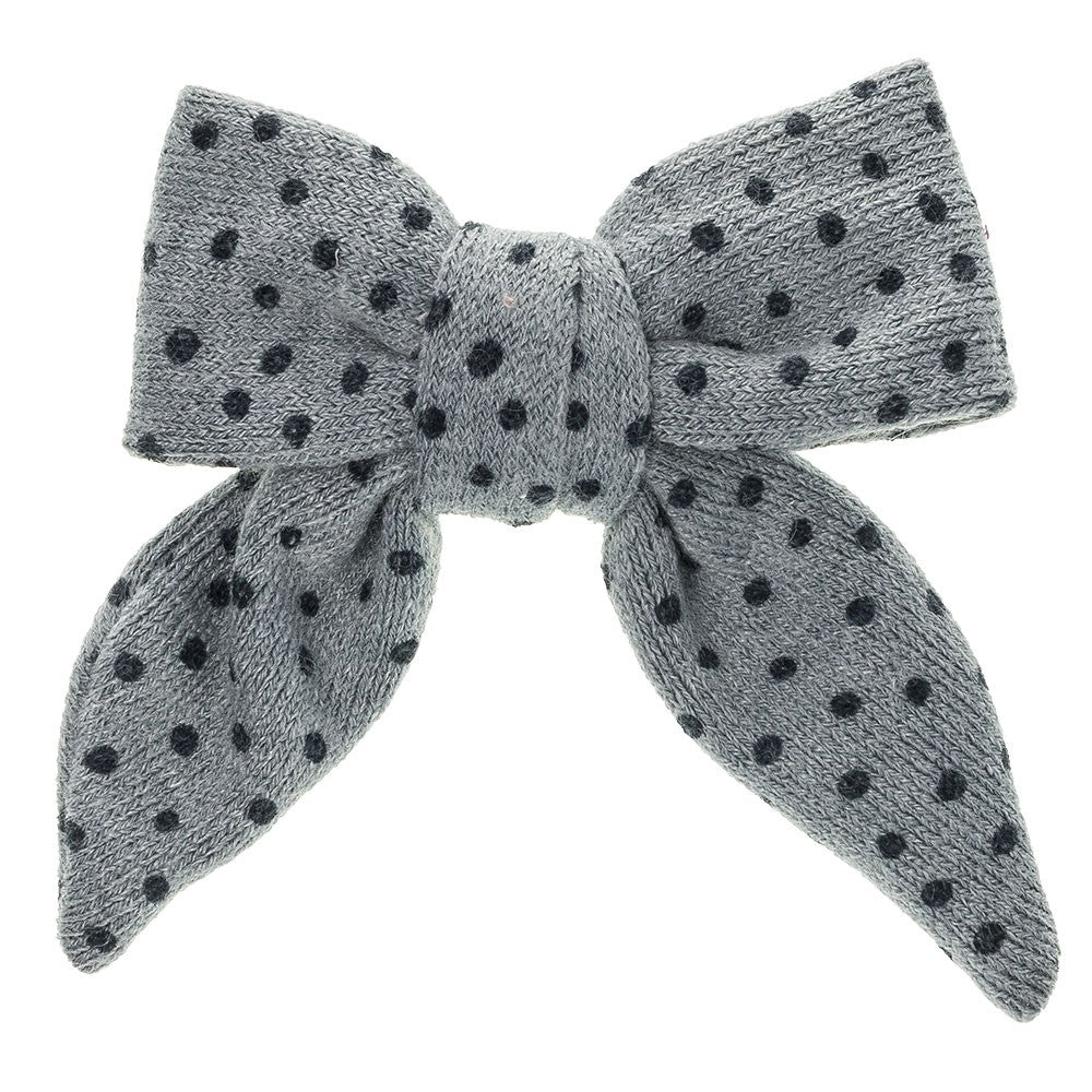 Polka Dot Long Tailed Bow - French Blue