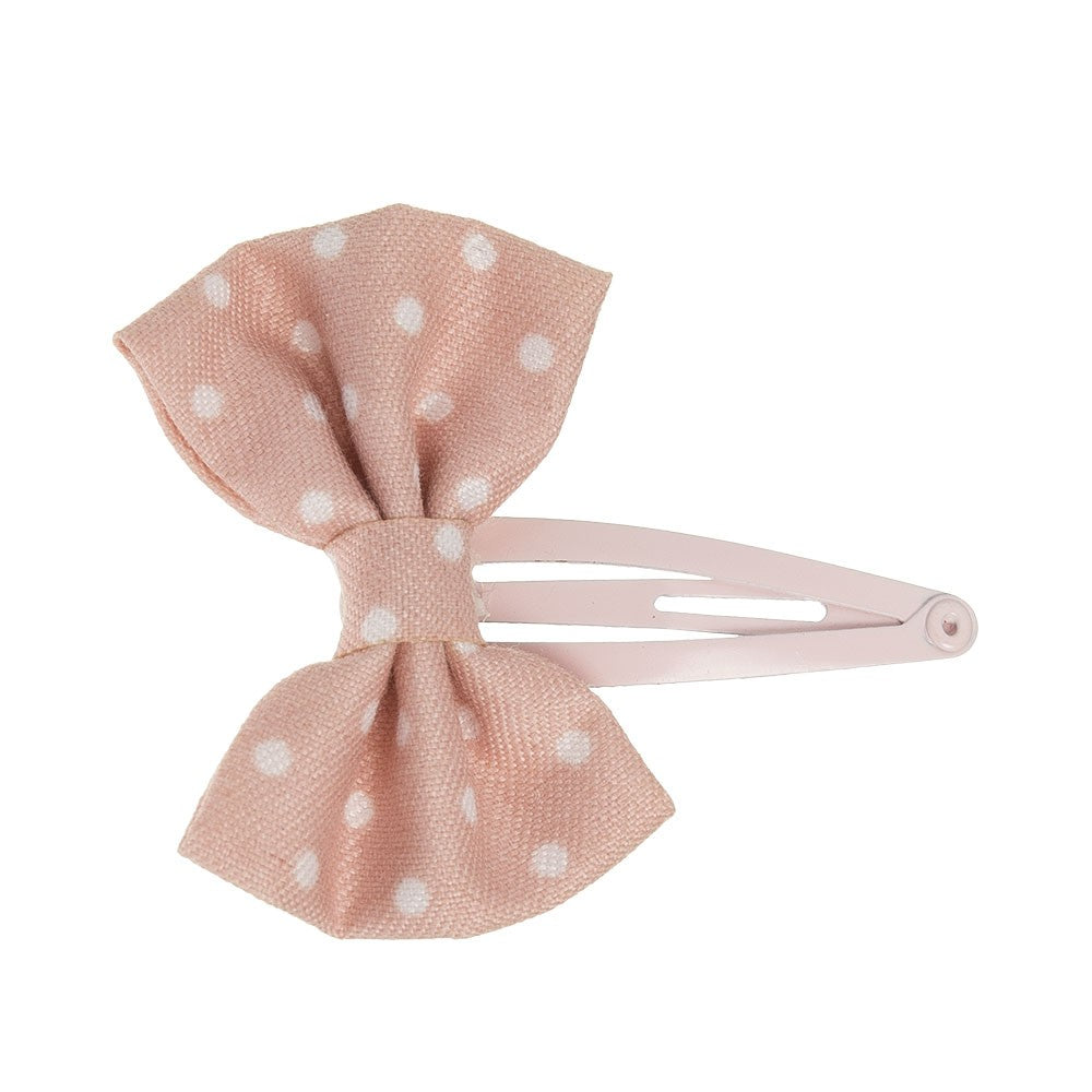 Beautiful hair bow in a delicate cotton fabric with silver polka dot detail, a unique handmade piece!
